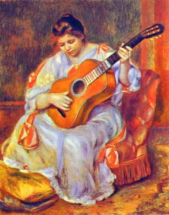 르누아르의 '기타를 치고 있는 여인'