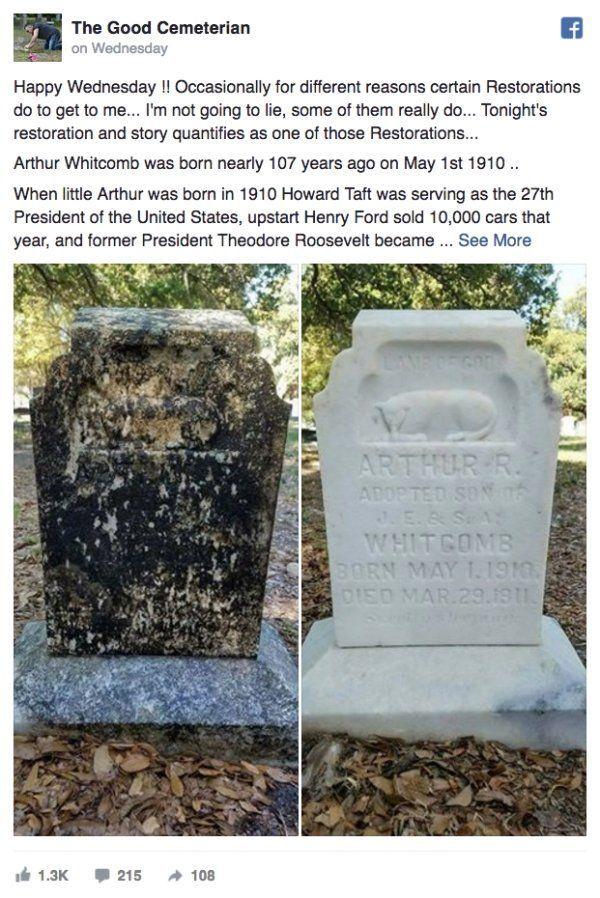 美 남성, 쉬는 날 잊혀져간 군인 묘비를 닦는 자원봉사에 나서 '감동'