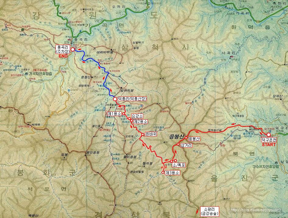 덕풍계곡 지도에 대한 이미지 검색결과